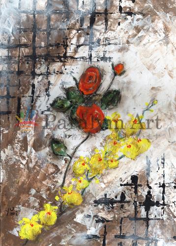 オレンジ色のバラとオンシジューム