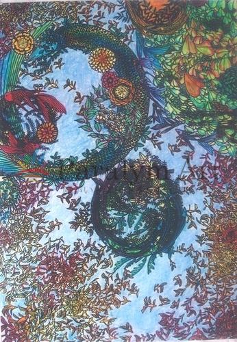 彩色した植物と魚