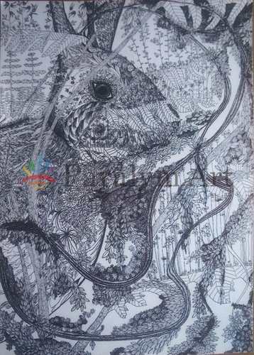 黒で描いた植物の中の兎