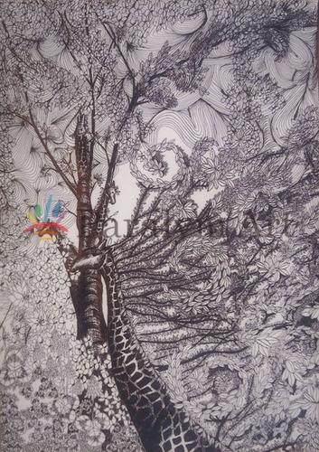 黒で描いた植物のキリン