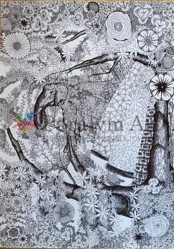 黒で描いた植物と象