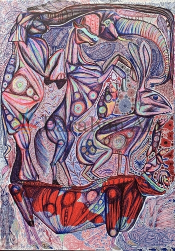 ボールペンで描いた動物の絵