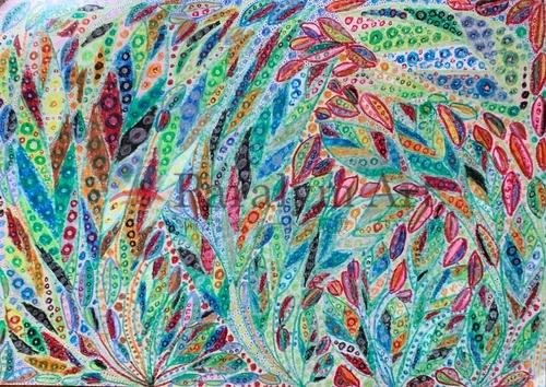 タムタムで描いた葉っぱの絵