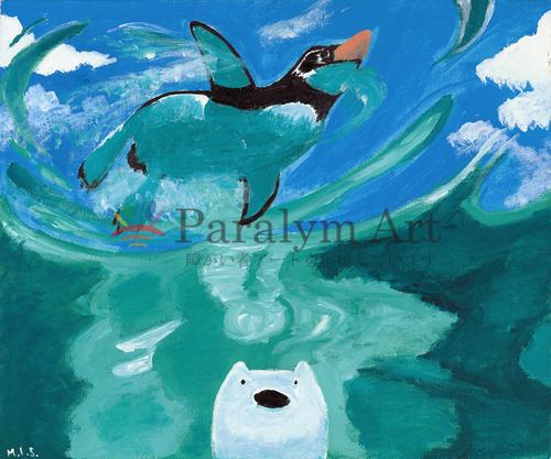 ペンギンが天空で泳いでいる