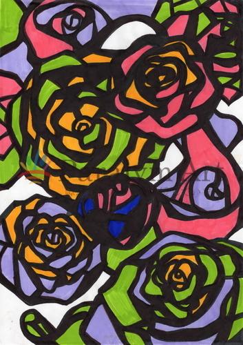 大輪のバラたち